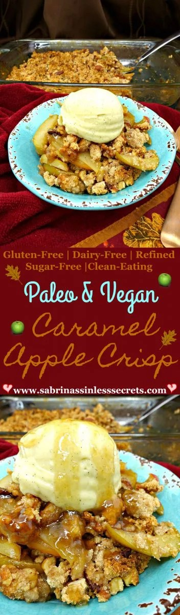 Warm, fall-seasoned apples tossed and baked in luscious caramel and topped off with a crunchy topping of deliciousness makes the perfect fall dessert—Paleo and Vegan Caramel Apple Crisp! It's easy to make and such a rewarding treat. Being Paleo, gluten-free, grain-free, refined sugar-free, vegan, dairy-free, and clean-eating, you can throw out all the guilt!