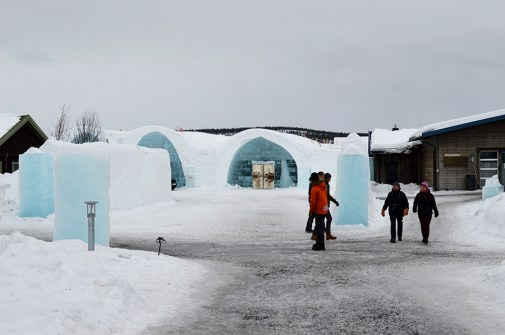 the Ice Hotel from afar