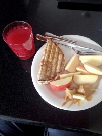a macka and apples&peanut butter