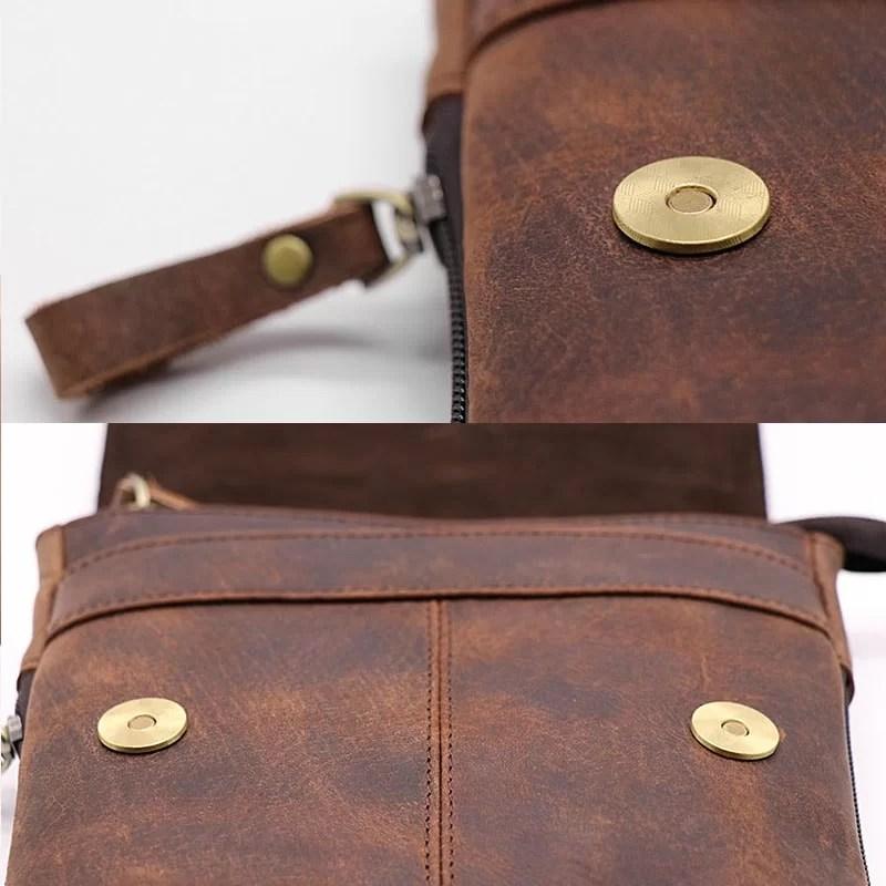 Détails de fabrication et finition du cuir et des boutons de la sacoche.