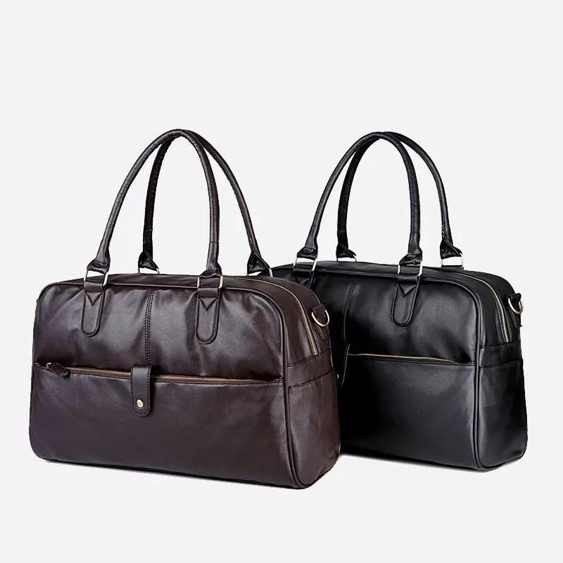 Sacs à main de type week-end 24h pour homme. En cuir et de couleur brun et noir.