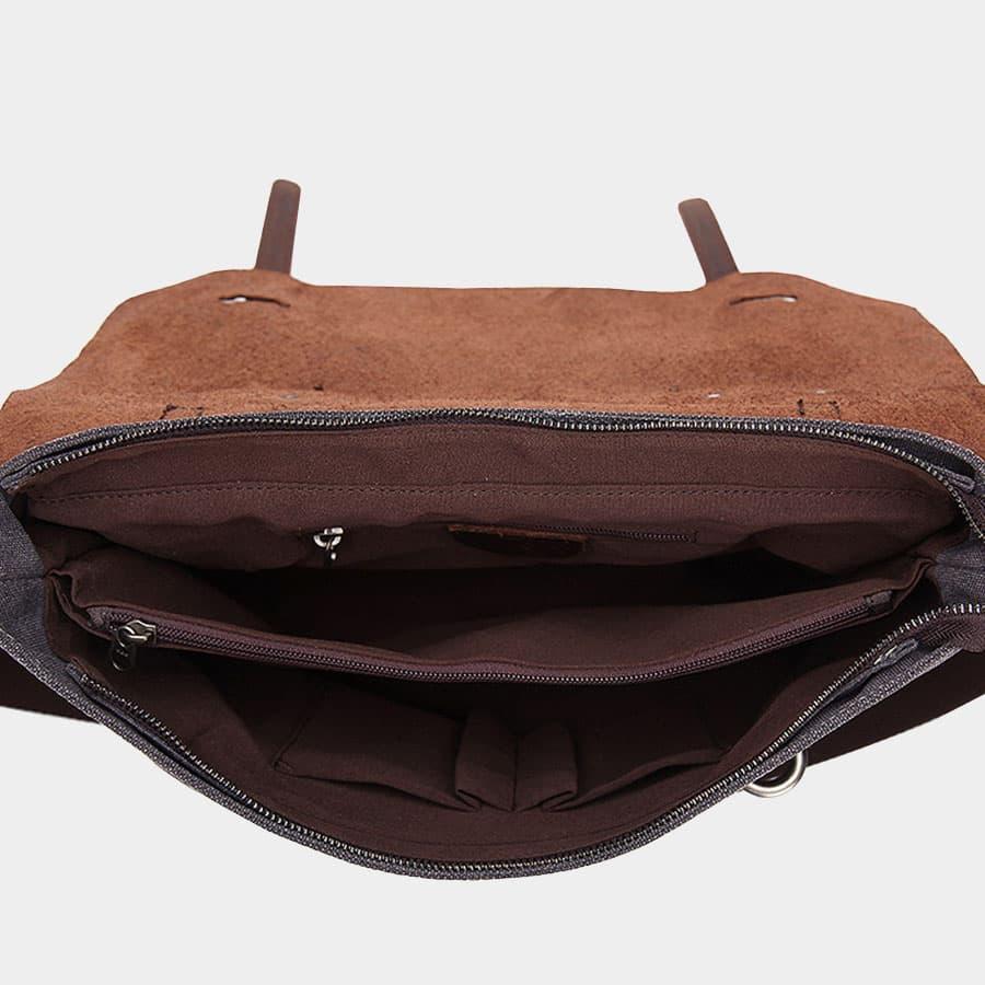 Intérieur de la sacoche avec 8 compartiments et poches zippées.