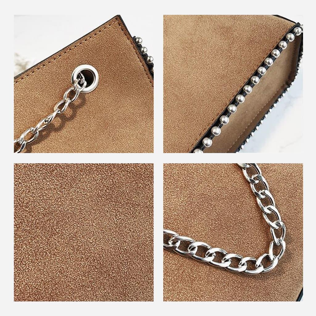 Détails du cuir nubuck marron brun, de la chaîne de la bandoulière, de l'œillet et des perles.