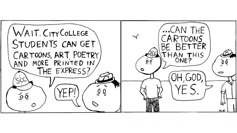 Express Yourself; Submit student cartoons, writing, art