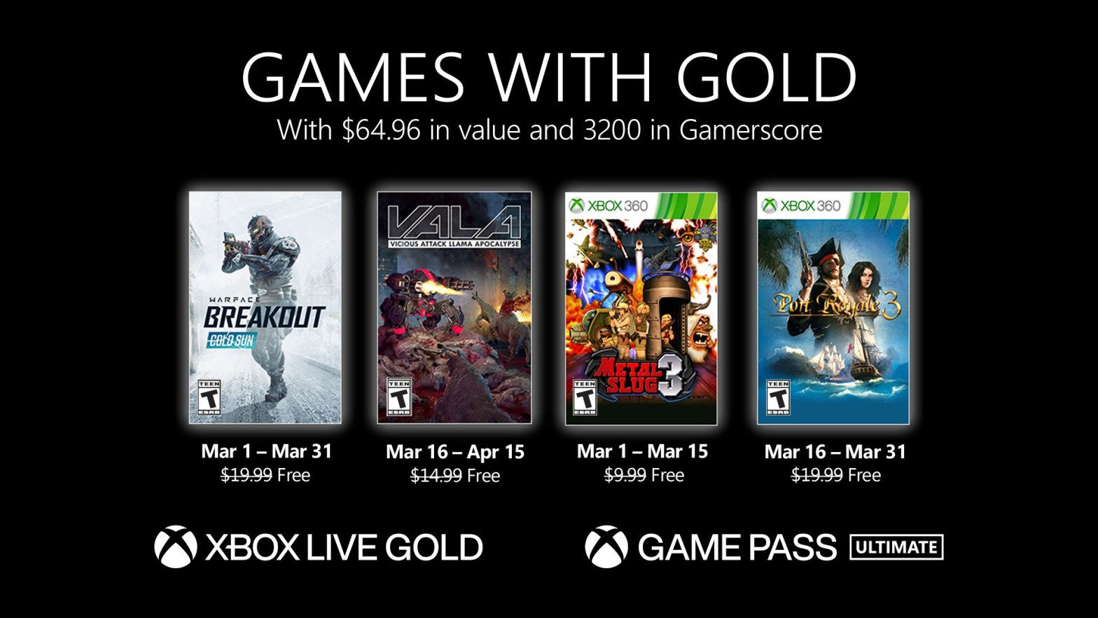 Xbox Games with Gold March 2021.