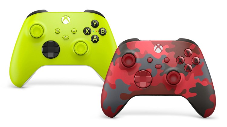Green and red camouflage Xbox controllers