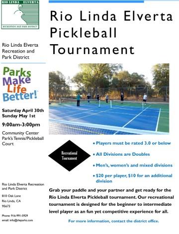 Rio Linda Pickleball Tournament Flyer