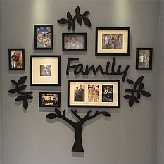 Metal Family Tree Picture Frame Wall Decor In 35 W X 40 H With Curved