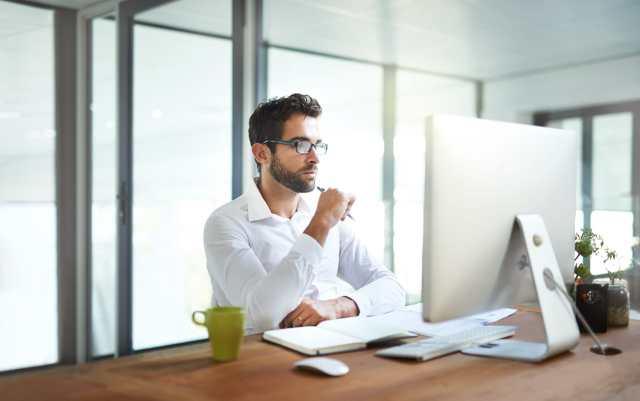 executive at computer