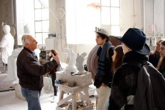 SACI sculpture students with Nicola Stagetti in his marble carving studio