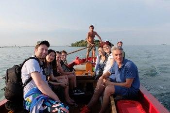SACI photography students, program Director Jacopo Santini, and gondoliers of the Venice Summer Program