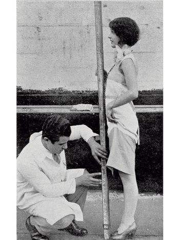 SALVATORE FERRAGAMO MEASURES THE MIDLINE OF A CUSTOMER'S BODY AND FEET, 1927 IN GRAN BAZAR, 1928, pp. 40–41