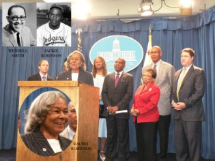Rachel Robinson, at the podium, the wife of the late Jackie Robinson talks about her husband and Black sportswriter Wendell Smith at the California State Capitol on Sep. 9, 2013. While Jackie Robinson made history by integrating Major League Baseball in 1947, Smith, who accompanied Robinson around the country during that historical season, also faced racism as a journalist.  Standing behind Mrs. Robinson, shown left to right are California Assemblymembers Brian Maienschein, Holly Mitchell, Steven Bradford, Cheryl Brown, Chris Holden, and Sen. Joel Anderson. OBSERVER photos by Antonio R. Harvey (with the exception of Jackie Robinson's and Wendell Smith's inset photos).