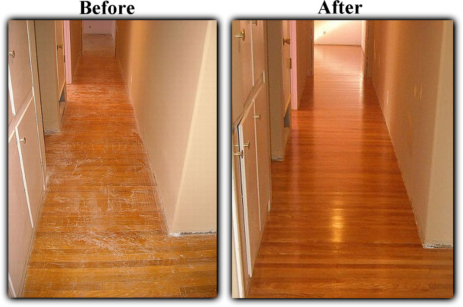 Before and after hardwood floor refinishing  turning over