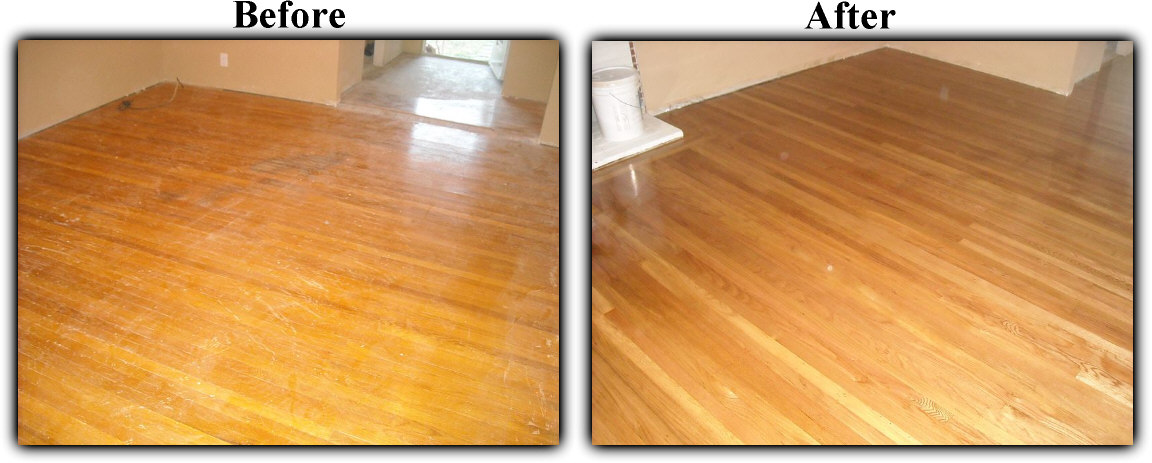 Before and after hardwood floor refinishing  removed