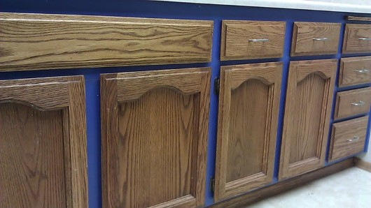 blue cabinetry in the kitchen