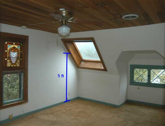Upstairs 5 foot rule square footage demonstration - by Sacramento Appraisal Blog