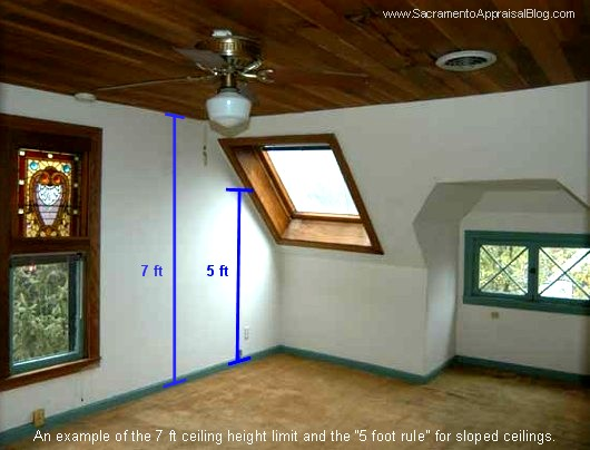 "7 foot ceiling height and ""5 foot rule"" photo by Sacramento Appraisal Blog"