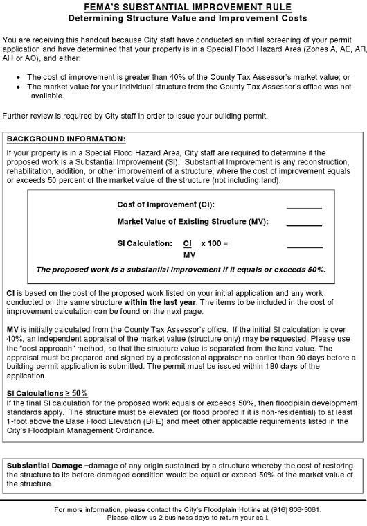 Sacramento FEMA Substantial Improvement Rule