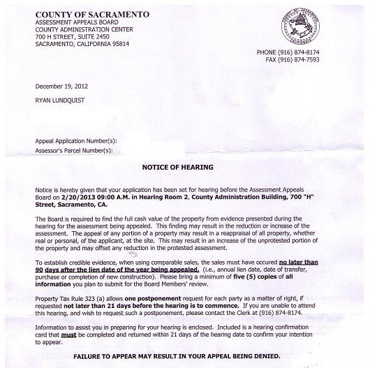 notice of hearing from Assessor - Sacramento Appraisal Blog