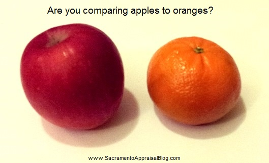 comparing apples to oranges - photo by Ryan Lundquist - Sacramento Appraisal Blog