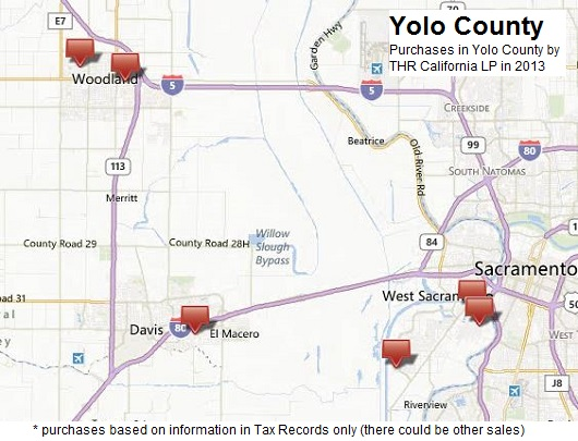 Blackstone purchases according to Tax Records in Yolo County in 2013 - data from Tax Records - compiled by Sacramento Appraisal Blog