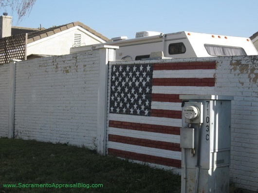 american flag painted in neighborhood on wall - by sacramento appraisal blog
