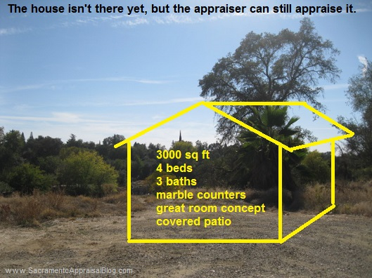 new construction appraisal - using hypothetical condition - by sacramento appraisal blog