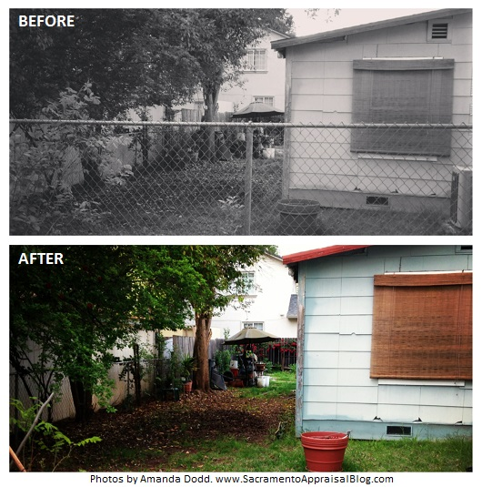 before and after chain link fence removal - 2 - sacramento appraisal blog