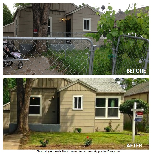 before and after chain link fence removal - sacramento appraisal blog