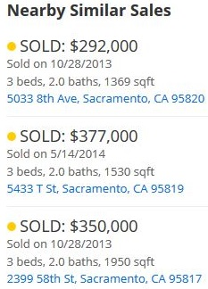 nearby so-called similar sales to the subject property