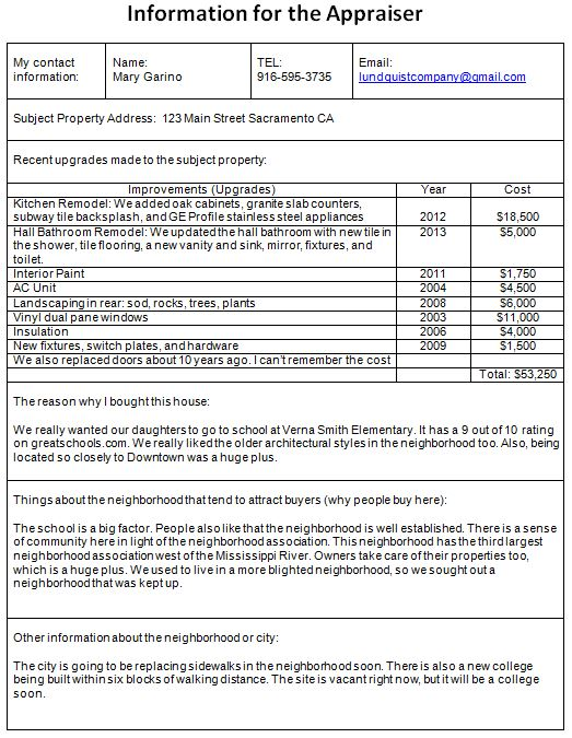 information example to the appraiser