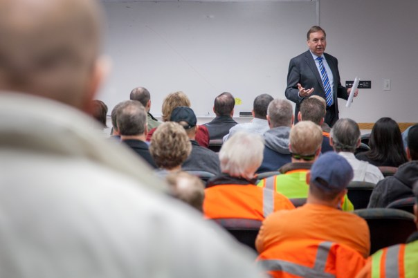 John Shirey speaks with Utilities, Public Works and other departments that are located at the City's Corporation Yard in the South area.