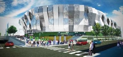 The L Street portion of the arena design conceptis seen at daytime.
