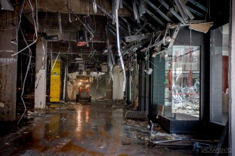Areas where shops used to be a gutted, in prep for more major demolition.