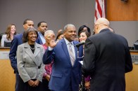 Newly elected Council Member Rick Jennings, II is sworn into office.