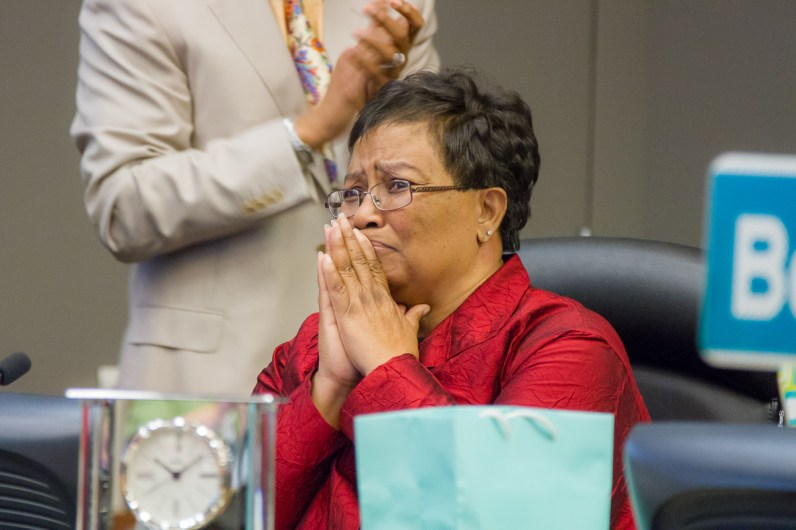 An emotional Council Member Bonnie Pannell as she steps down from her position.