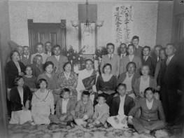 650th Memorial for Nichiren Shonin and dedication of Sacramento Nichiren Buddhist Church, Sept. 9, 1931. The photo was taken at the home of Mr. Kazuji Suiyama.