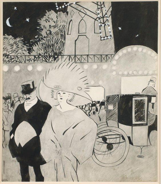 Juan Gris, A l'extérieur du Moulin Rouge, c.1908. Private collection.