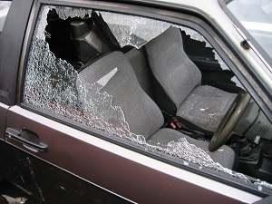 Picture of Car with a broken window for National Night Out post