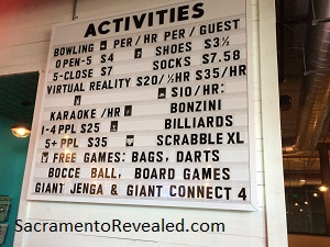 Photo of Punch Bowl Social Activity Price Board