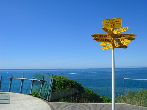 At Bluff, the southern-most point of the South Island, from where you can apparently go anywhere in the world.