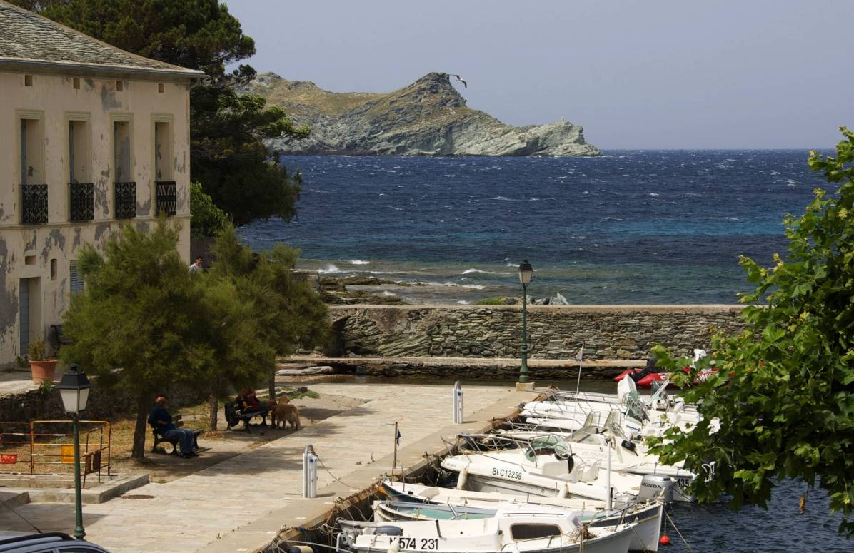 Sacré Cap Corse - Une partie du port de Barcaghju, en fond l'île de la Giraglia