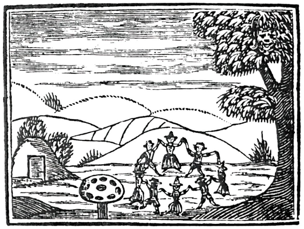 Faerie rings, wood cut, 17th century