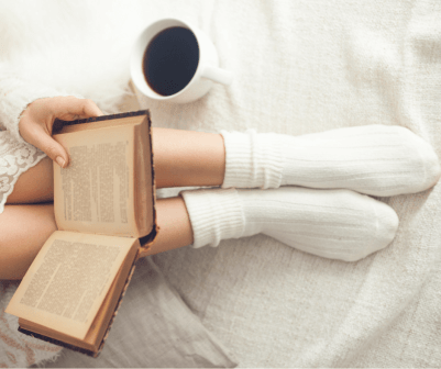 bible and coffee in bed