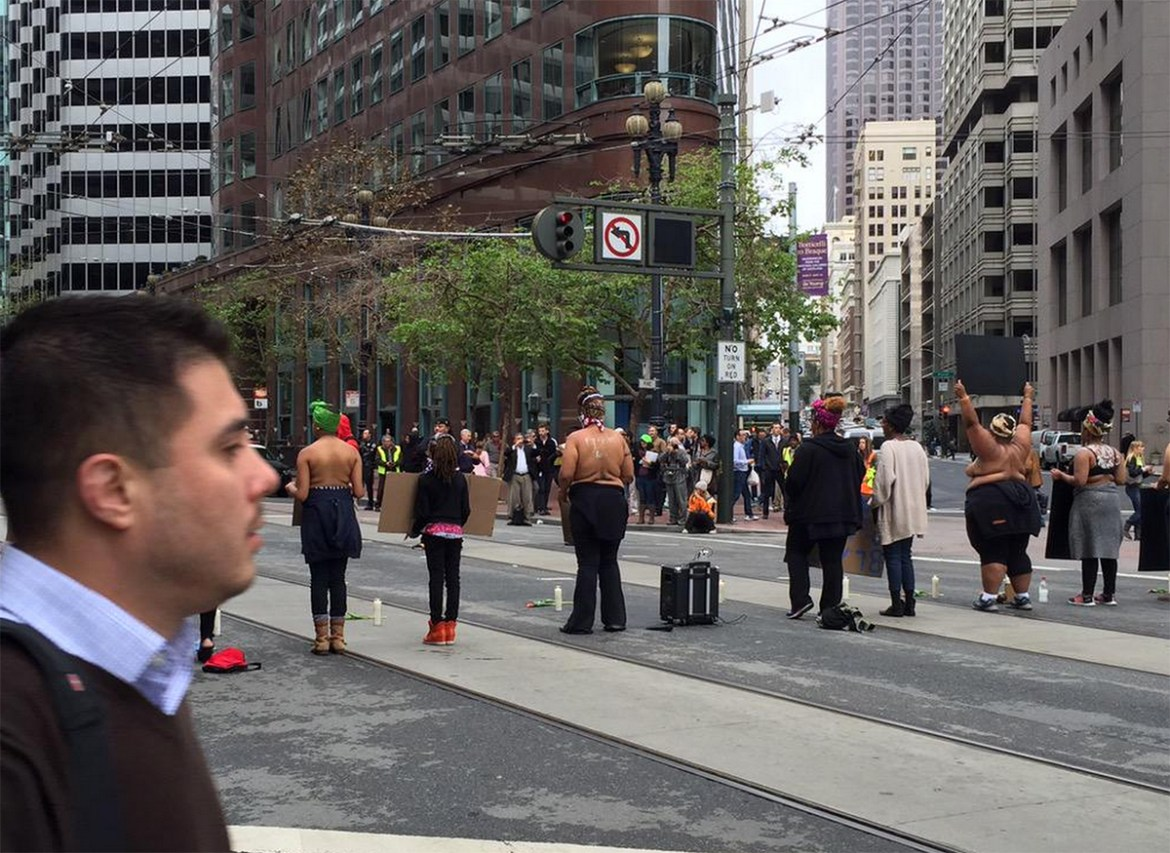 Topless black women are shutting down San Francisco's busiest streets during rush hour
