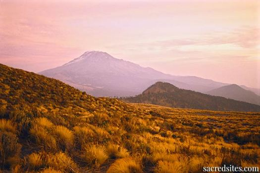 Distant Mt. Iztaccihuatl from the high slopes of Mt. Popocatepetl, Mexico