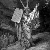 """""""Moses Comes Down from Mt. Sinai"""" woodcut by Gustave Dore"""