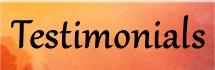an orange box with the word Testimonials written in black script