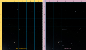 Starfield scan and predicted starfield view